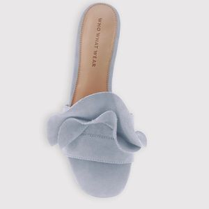 Who What Wear Blue Zadie Ruffle Slide Heel Sandals